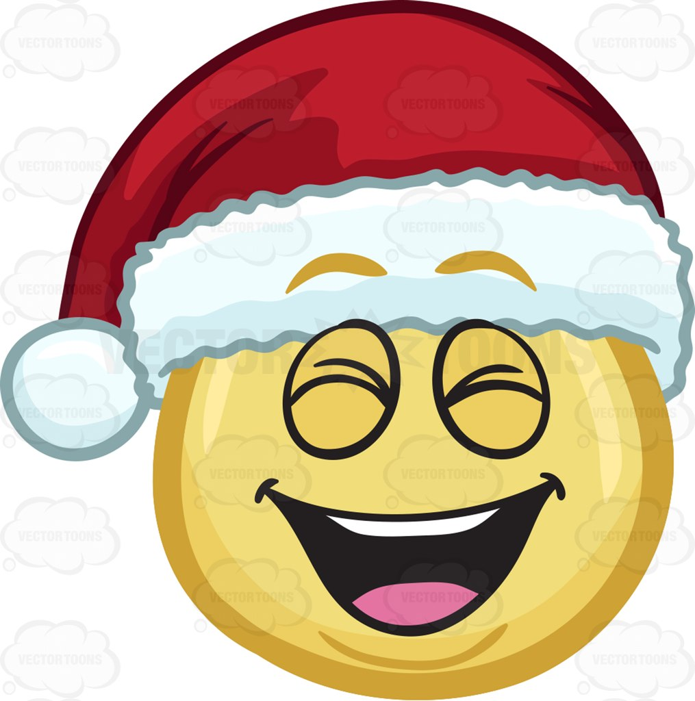 1015x1024 A Laughing Emoji Wearing A Santa Hat Cartoon Clipart