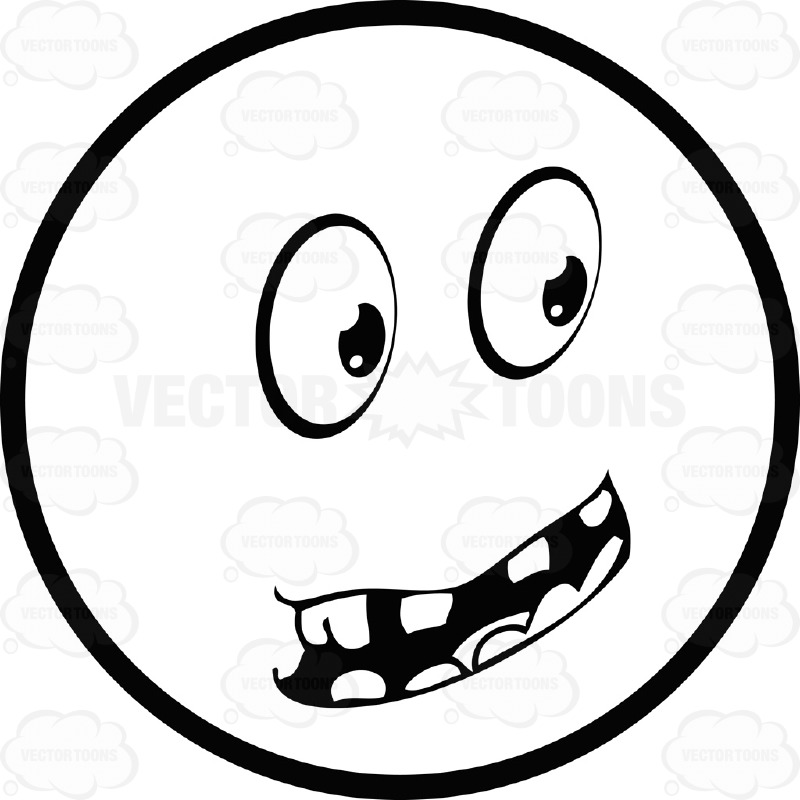 800x800 Large Eyed Black And White Smiley Face Emoticon Serious,