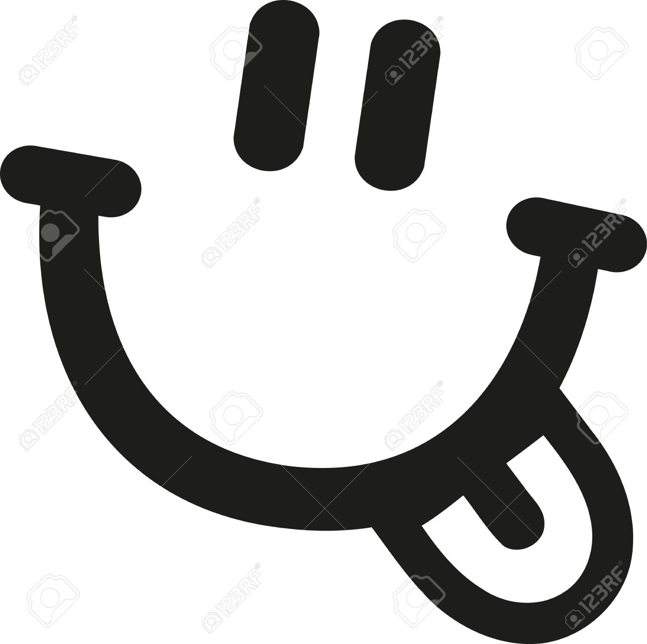 1300x1295 Smiley Face With Laughing Mouth And Tongue Royalty Free Cliparts