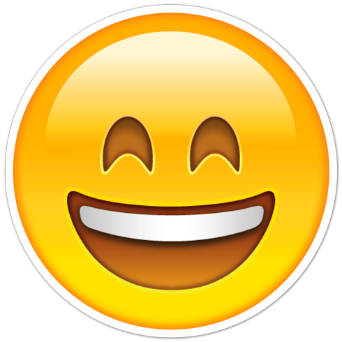 490x490 Car And Motorbike Stickers Smiley Face With Mouth And Eyes Open