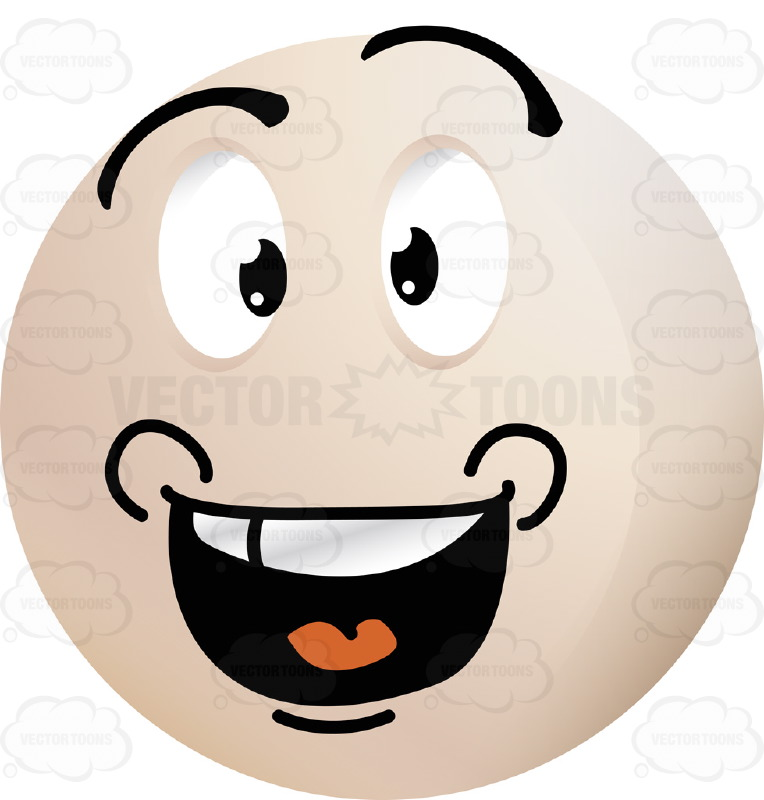 764x800 Ecstatic Light Colored Smiley Face Emoticon With Open Mouth, Upper
