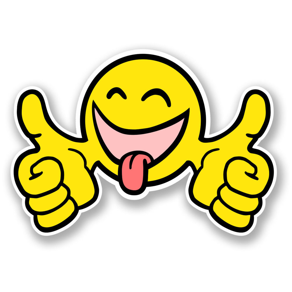 1000x1000 2 X 10cm Smiley Thumbs Up Face Vinyl Sticker Happy Jdm Car Bike