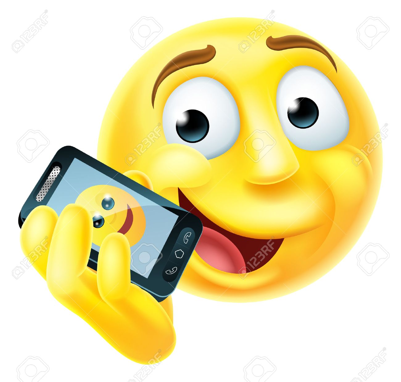 1300x1239 A Emoji Emoticon Smiley Face Character Talking Happily On A Mobile