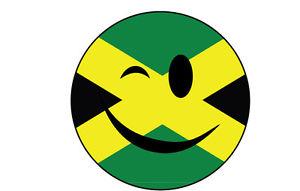 300x191 Winking Smiley Face Sticker With Jamaica Jamaican Flag Sticker