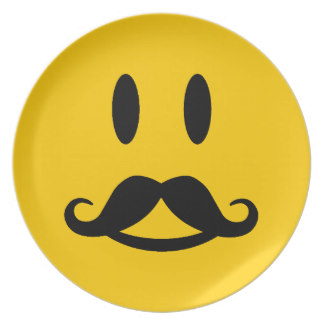 324x324 Smiley Face With Mustache Plates Zazzle