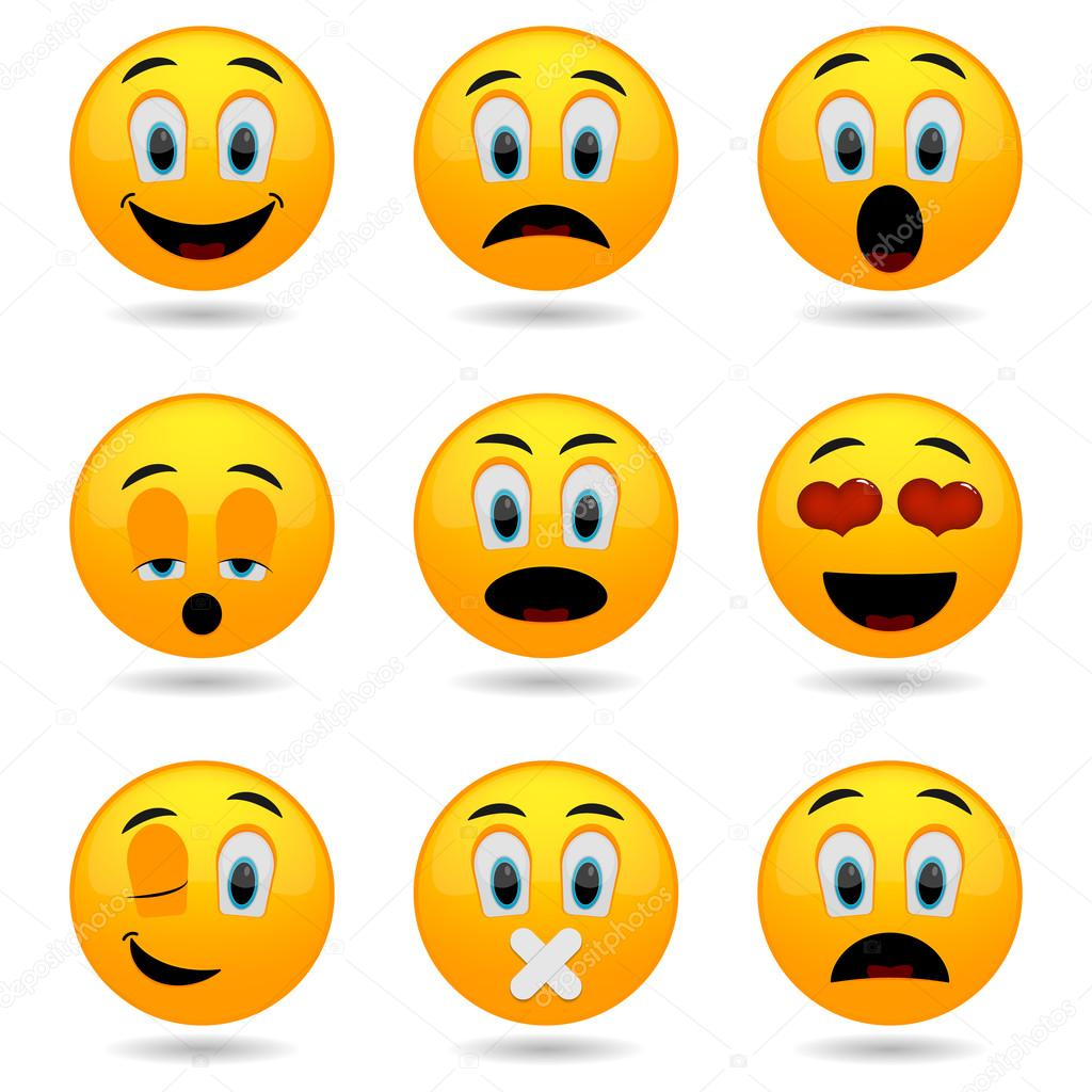 1024x1024 Set Of Emoticons. Smile Icons. Smiley Faces. Emotional Funny Faces