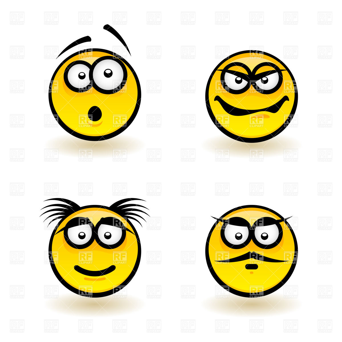 1200x1200 Emotions Smiley Icons Haughty, Gloat And Surprised Royalty Free