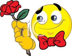 300x233 Free Clipart Image A Smiley Holding A Red Flower