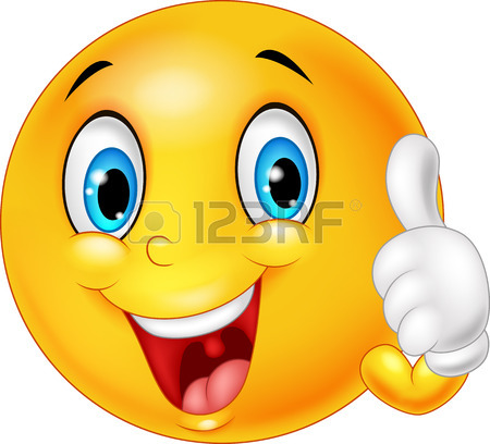 450x408 Happy Smiley Emoticon Cartoon Giving Thumbs Up Royalty Free