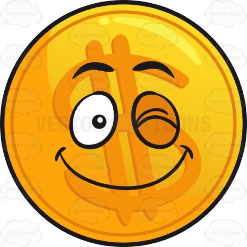 800x800 Happy Wink Golden Coin Emoji Cartoon Clipart