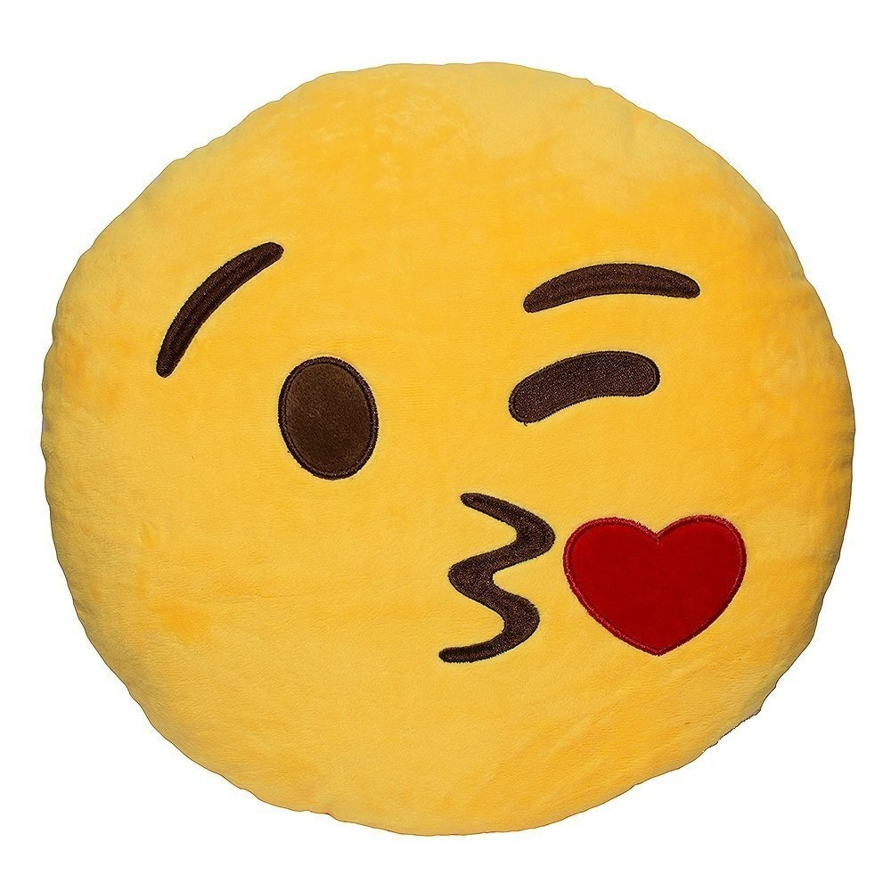 1000x1000 Wink Blow Heart Kiss Emoji Pillow 12.5 Inch Large Yellow Smiley