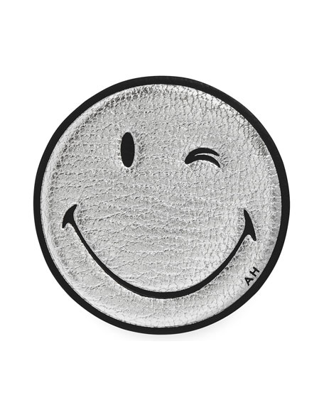 456x570 Anya Hindmarch Oversized Wink Smiley Face Sticker For Handbag, Silver