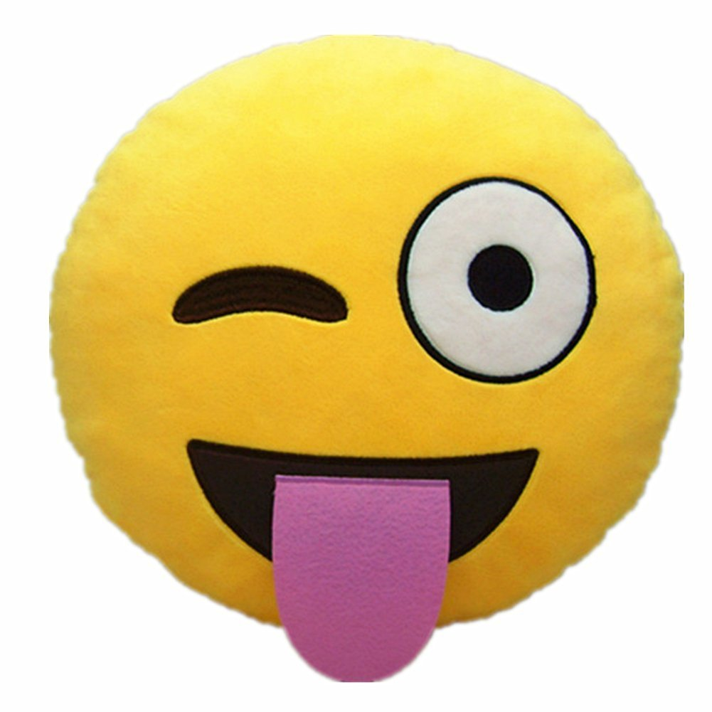 1001x1001 Wink Tongue Out Cheeky Emoji Pillow 12.5 Inch Large Yellow Smiley