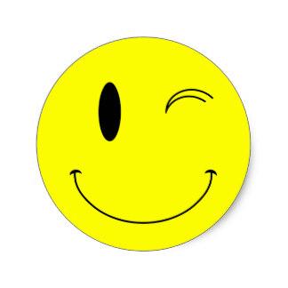 324x324 Winking Smiley Face Stickers Zazzle.co.uk