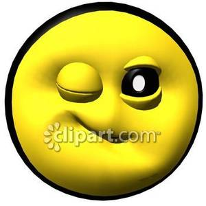 300x300 Winking Yellow Smiley Face Royalty Free Clipart Picture