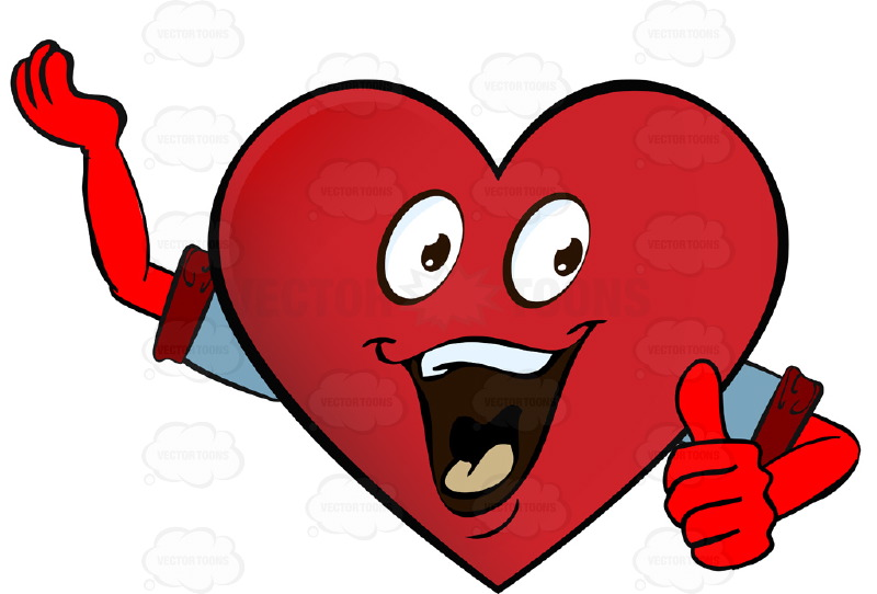 800x542 Enthusiastic, Cheering Heart Smiley With Raised Arm Giving Thumbs