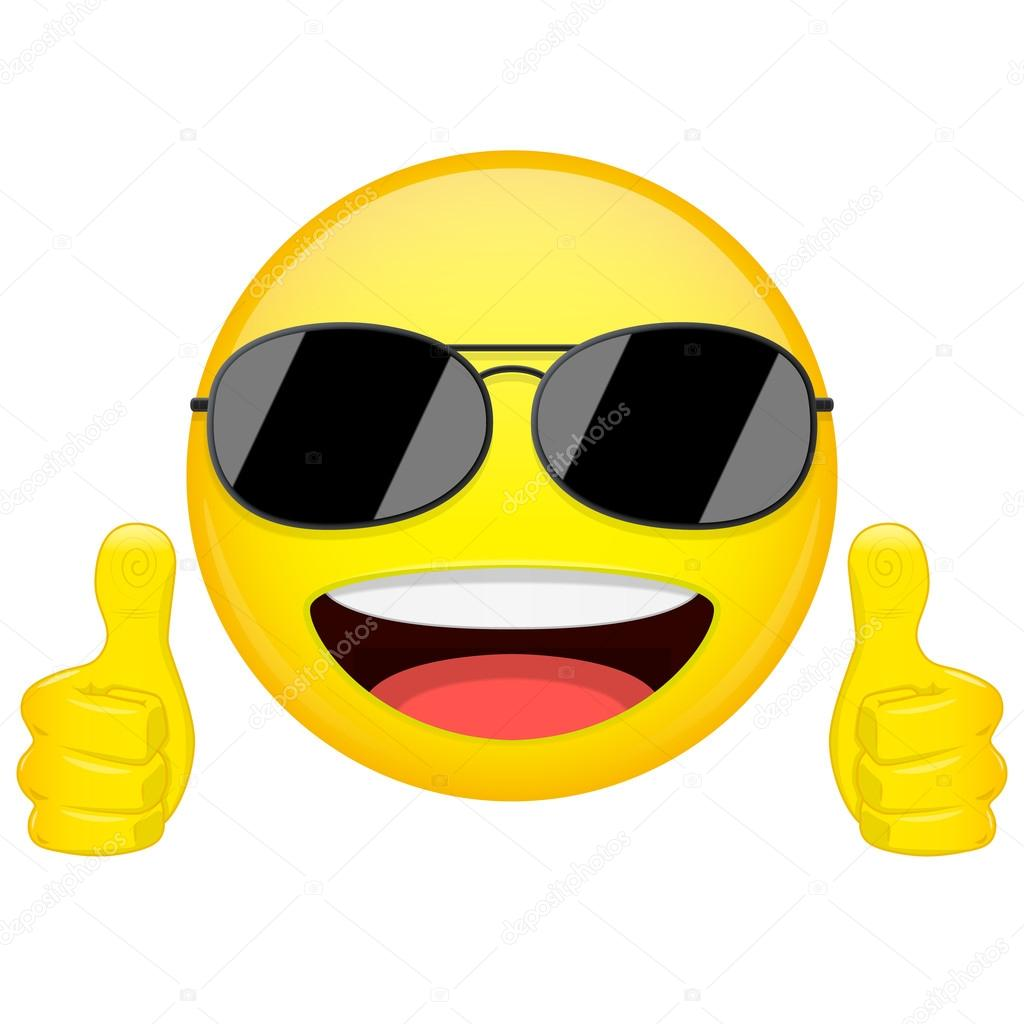 1024x1024 Good Idea Emoji. Thumbs Up Emotion. Cool Guy With Sunglasses