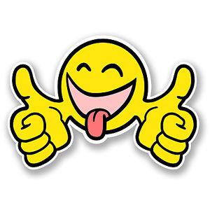 300x300 2 X 10cm Smiley Thumbs Up Face Vinyl Sticker Happy Jdm Car Bike