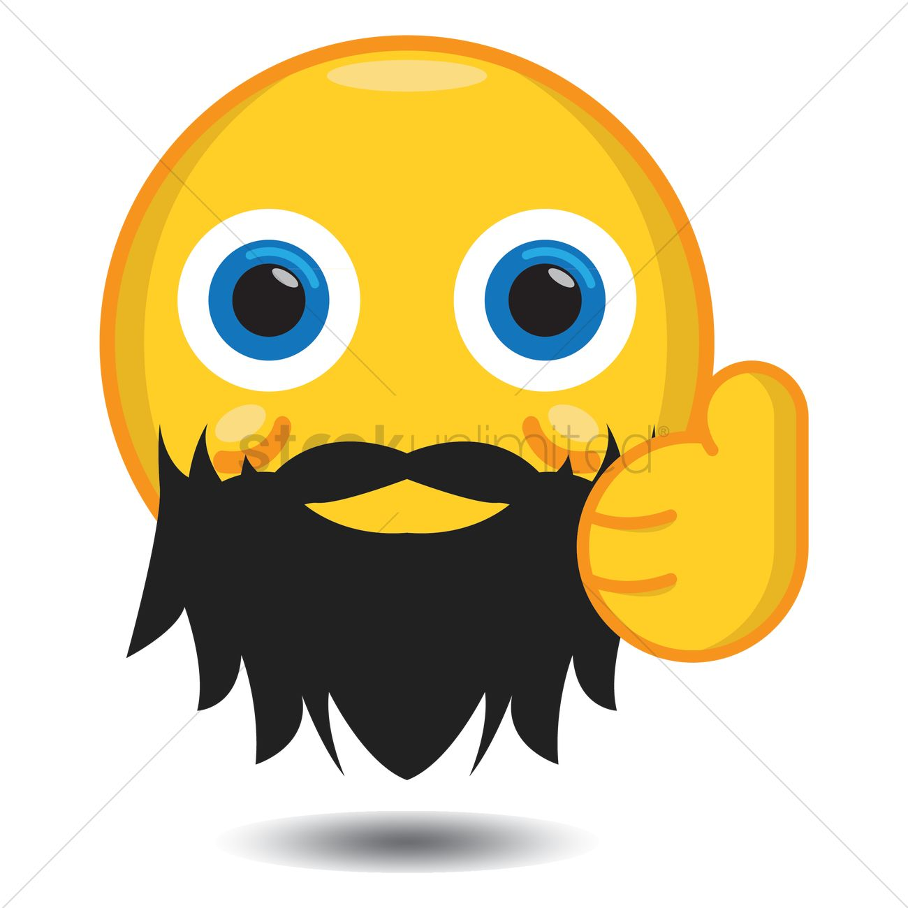 1300x1300 Smiley With Beard Showing Thumbs Up Vector Image