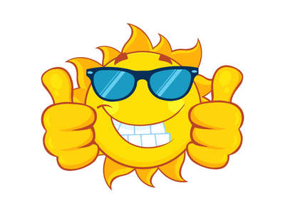 400x300 Smiling Sun With Sunglasses Giving A Double Thumbs Up By Hit Toon