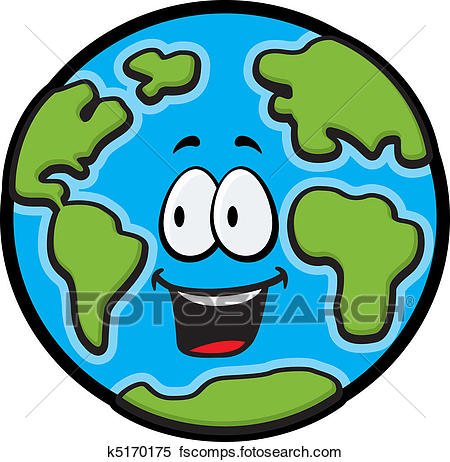 450x462 Clipart of Earth Smiling k5170175