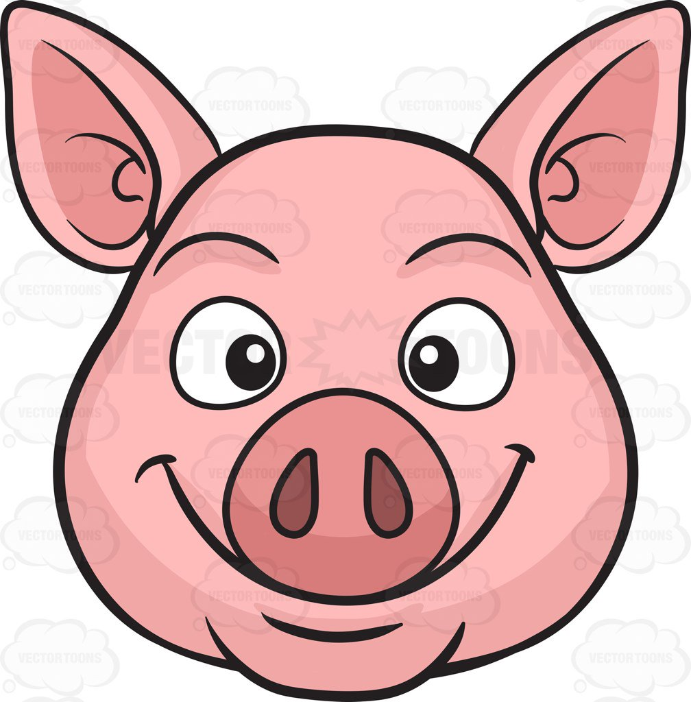 1008x1024 A Smiling Pig Cartoon Clipart