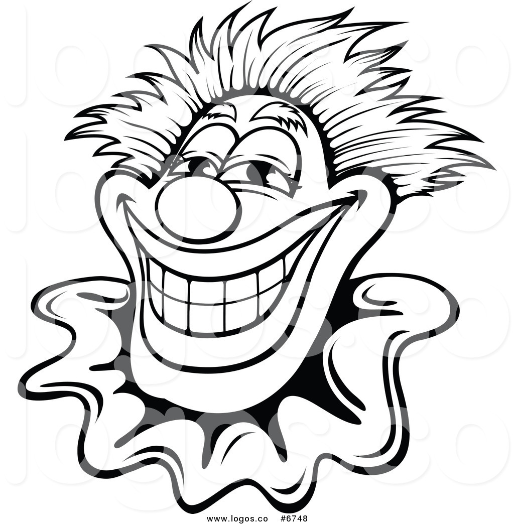 1024x1044 Royalty Free Clip Art Vector Logo of a Black and White Smiling