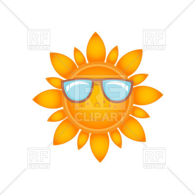 400x400 Smiling sun with face in sunglasses Royalty Free Vector Clip Art