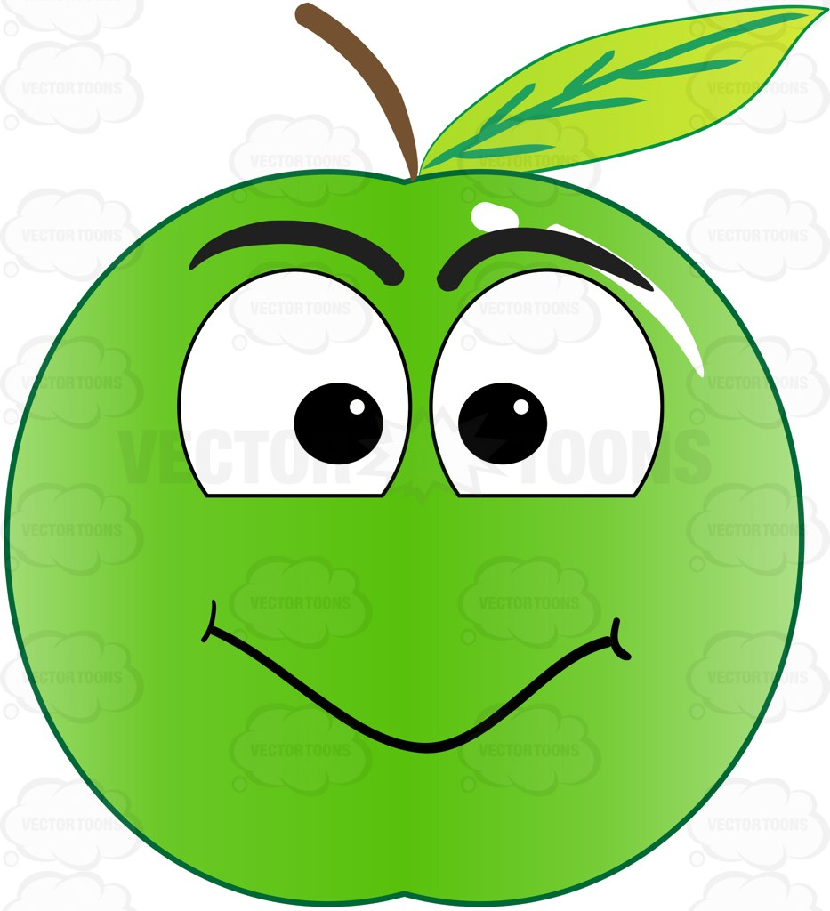 933x1024 Green Apple With Smiling Face Looking At Camera Emoji Cartoon