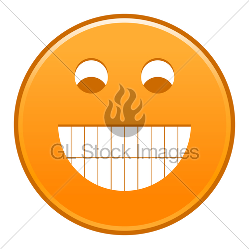 500x500 Orange Smiling Face Cheerful Smiley Happy Emoticon Gl Stock Images
