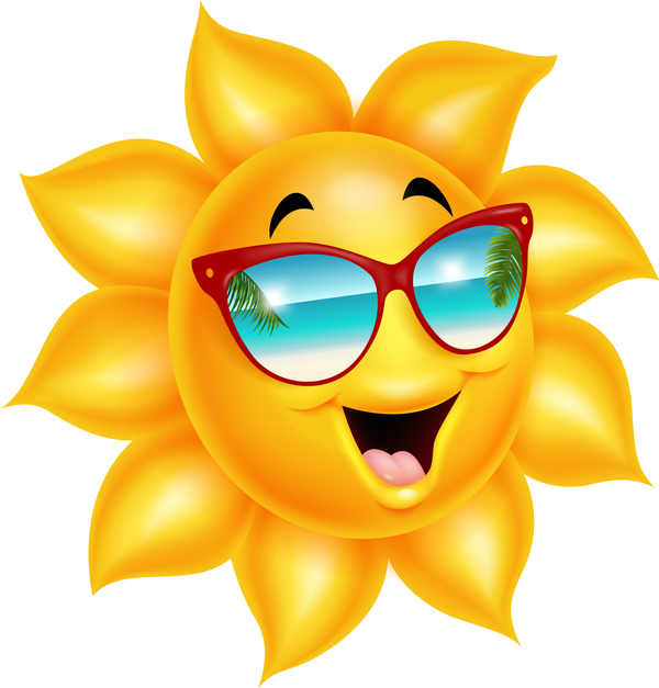 600x627 Cartoon Sun Smiling Face Vectors 04