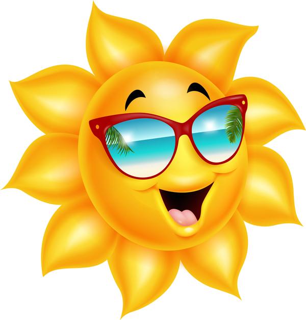 600x627 Cartoon Sun Smiling Face Vectors 04