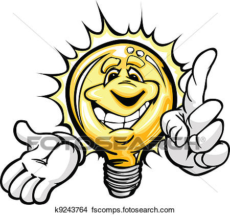 450x420 Clipart Of Cartoon Light Bulb Smiling Face And Hands