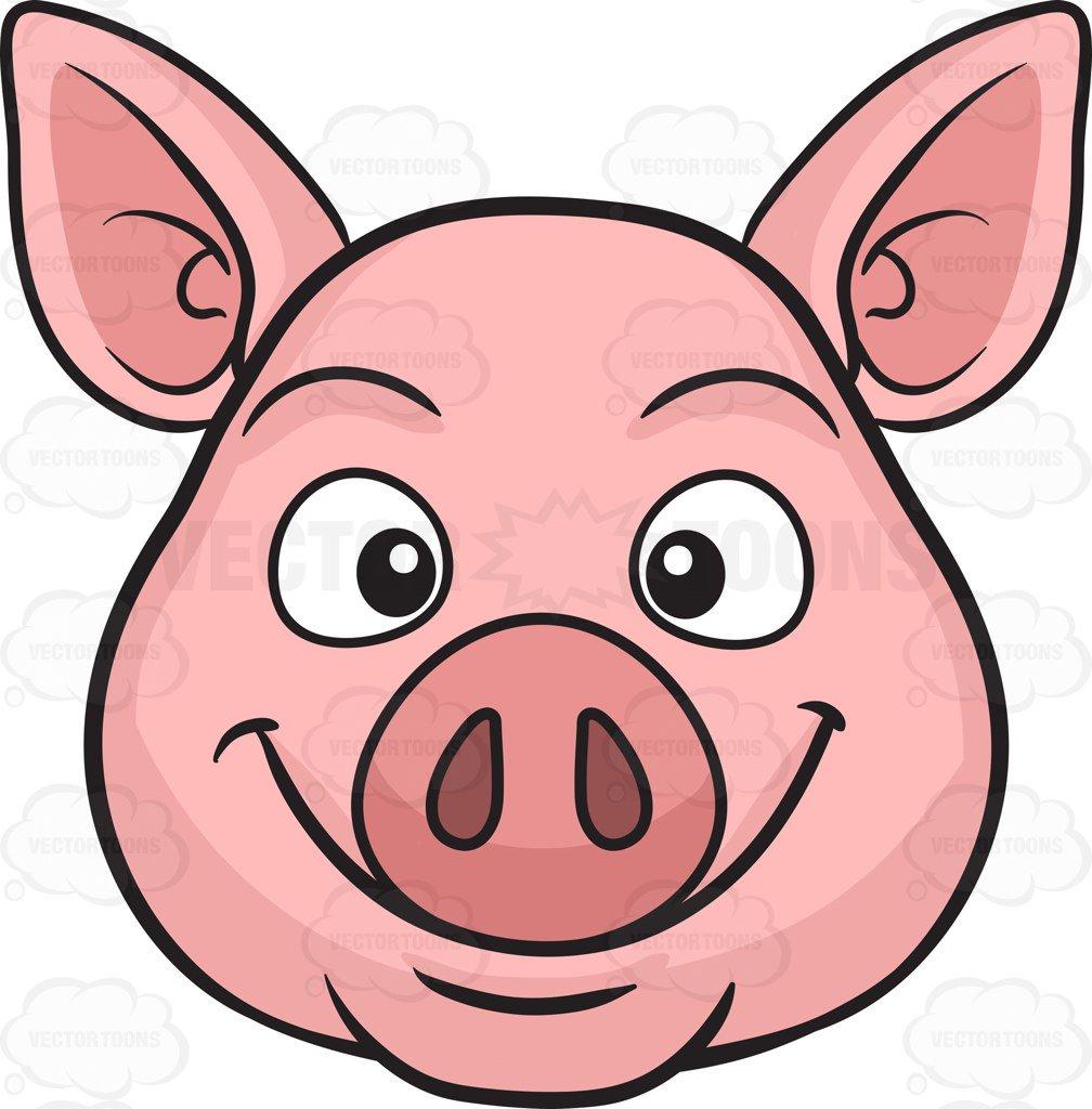 1008x1024 A Smiling Pig Cartoon Clipart