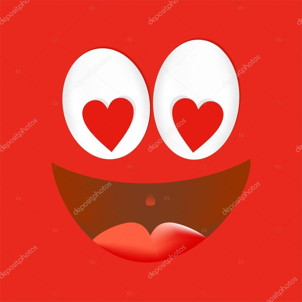1024x1024 Joyful Loving A Smiling Face Red With White Eyes With Red Heart