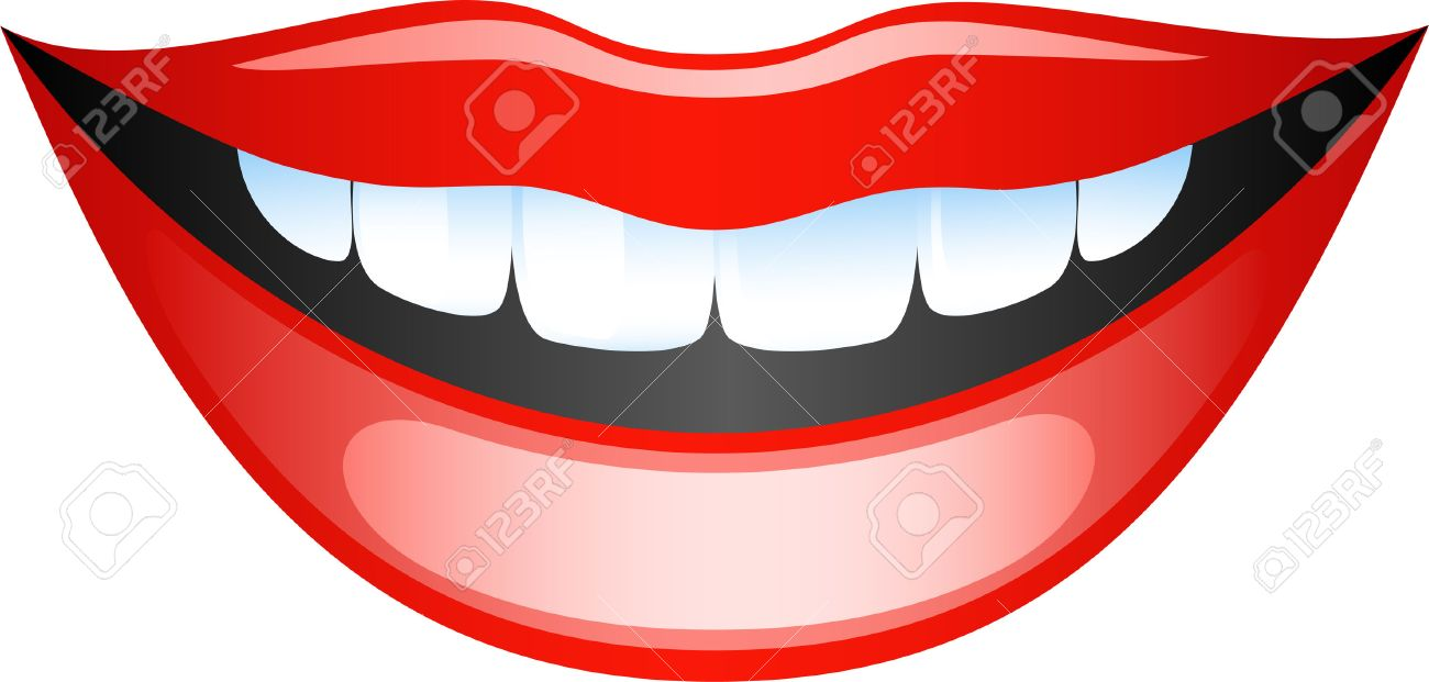 1300x621 Vector Image Smiling Female Lips. Isolated On White Royalty Free