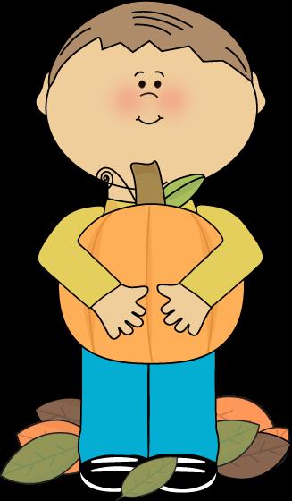 327x560 Boy Holding A Pumpkin Clip Art
