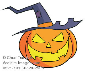 300x249 Smiling Halloween Pumpkin With a Witch Hat Clipart Image