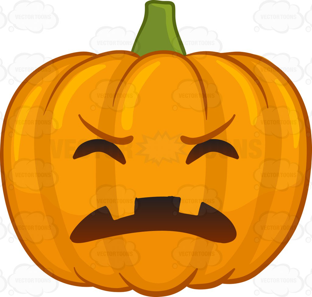 1024x975 A Frustrated Halloween Pumpkin Cartoon Clipart