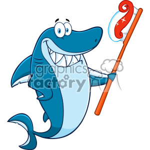 300x300 Royalty Free Clipart Smiling Blue Shark Cartoon Holding