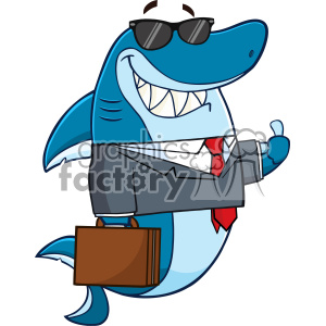 300x300 Royalty Free Smiling Business Shark Cartoon In Suit Carrying