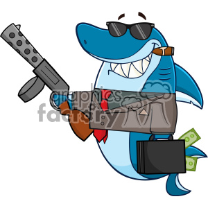 300x300 Royalty Free Smiling Shark Gangster Cartoon Carrying A Briefcase
