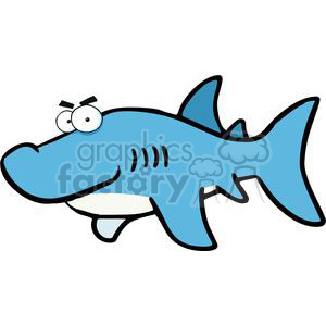 300x300 Royalty Free Cartoon Great White Shark 379994 Vector Clip Art