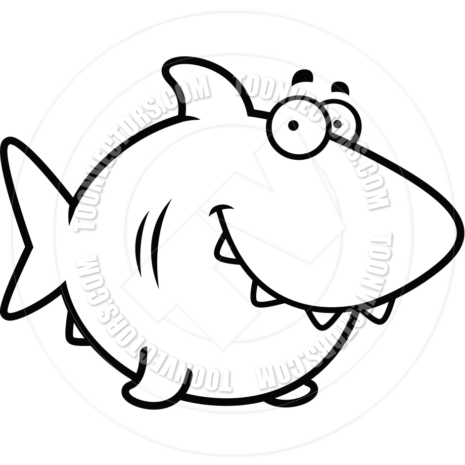940x940 Cartoon Shark Smiling (Black And White Line Art) By Cory Thoman