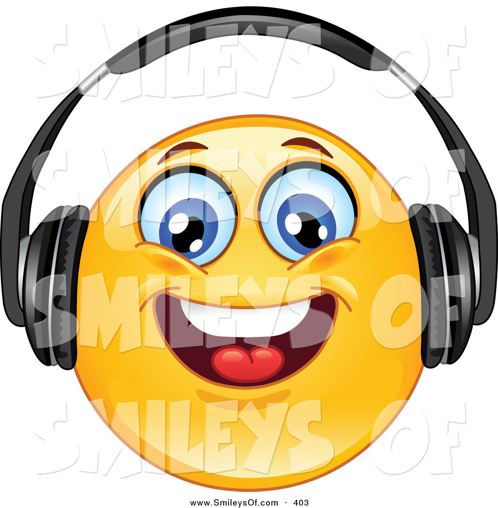 1024x1044 Vector Of Yellow Smiley Face Wearing Head Phones And Smiling While
