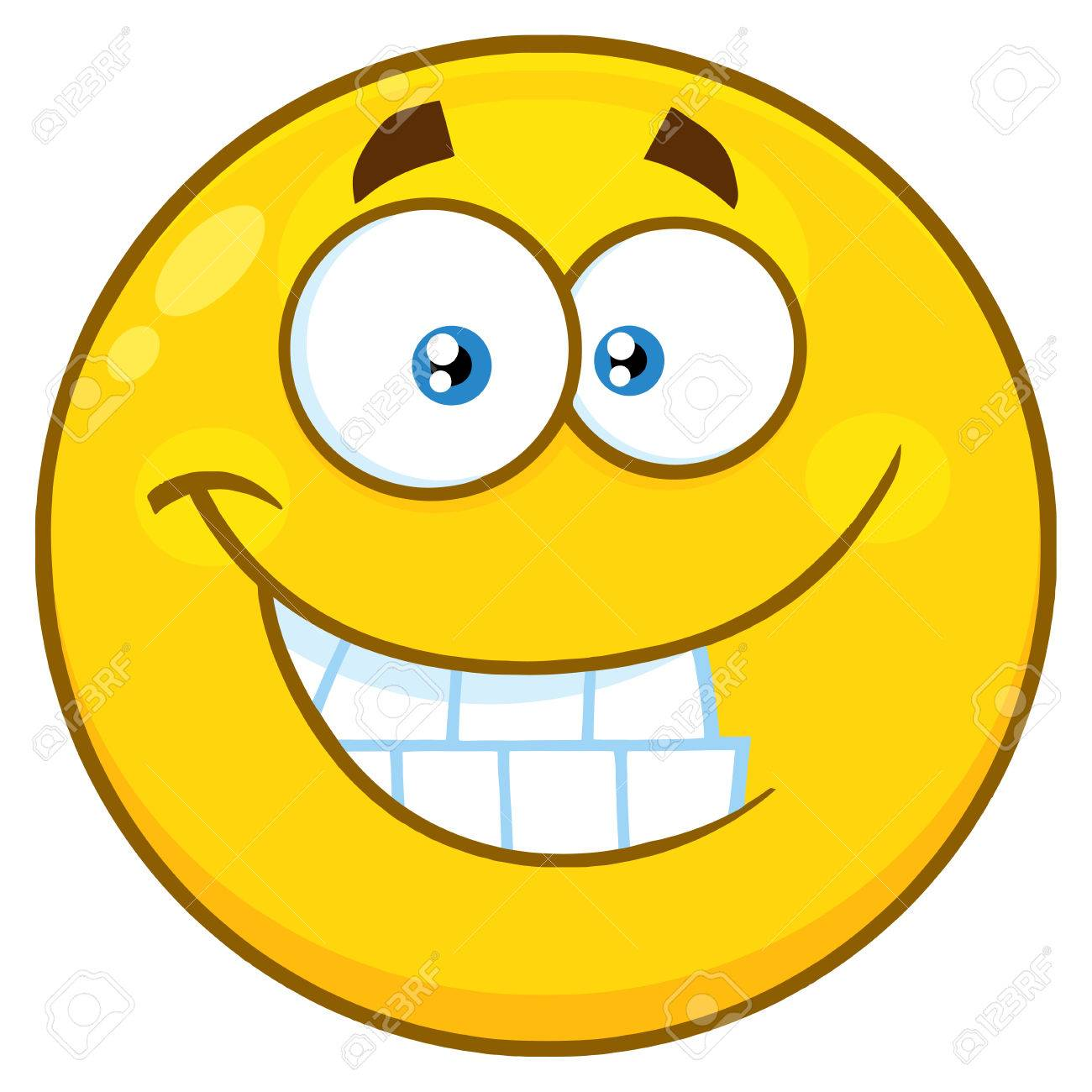 1300x1300 Funny Yellow Cartoon Smiley Face Character With Smiling Expression
