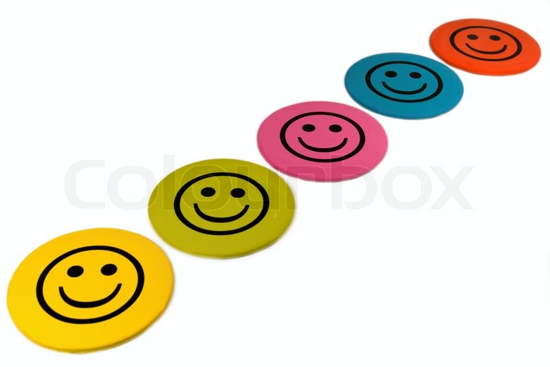800x535 Colorful Smileys, Smiley Faces On A White Background Stock Photo