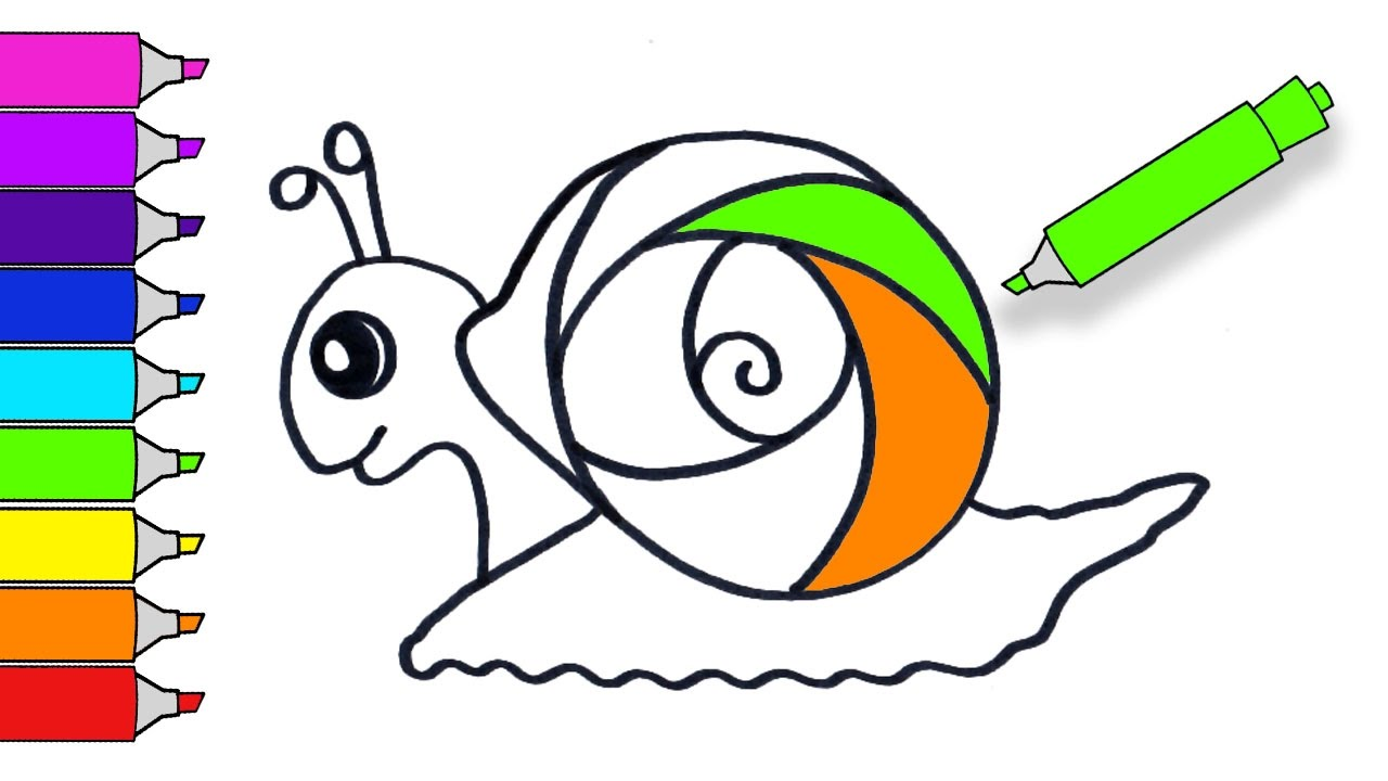 1280x720 How To Draw A Cute Rainbow Snail Teach Drawing For Kids