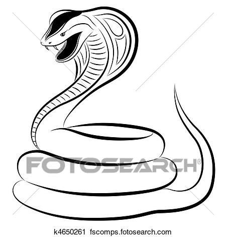 450x470 Clipart of Snake, Cobra k4650261