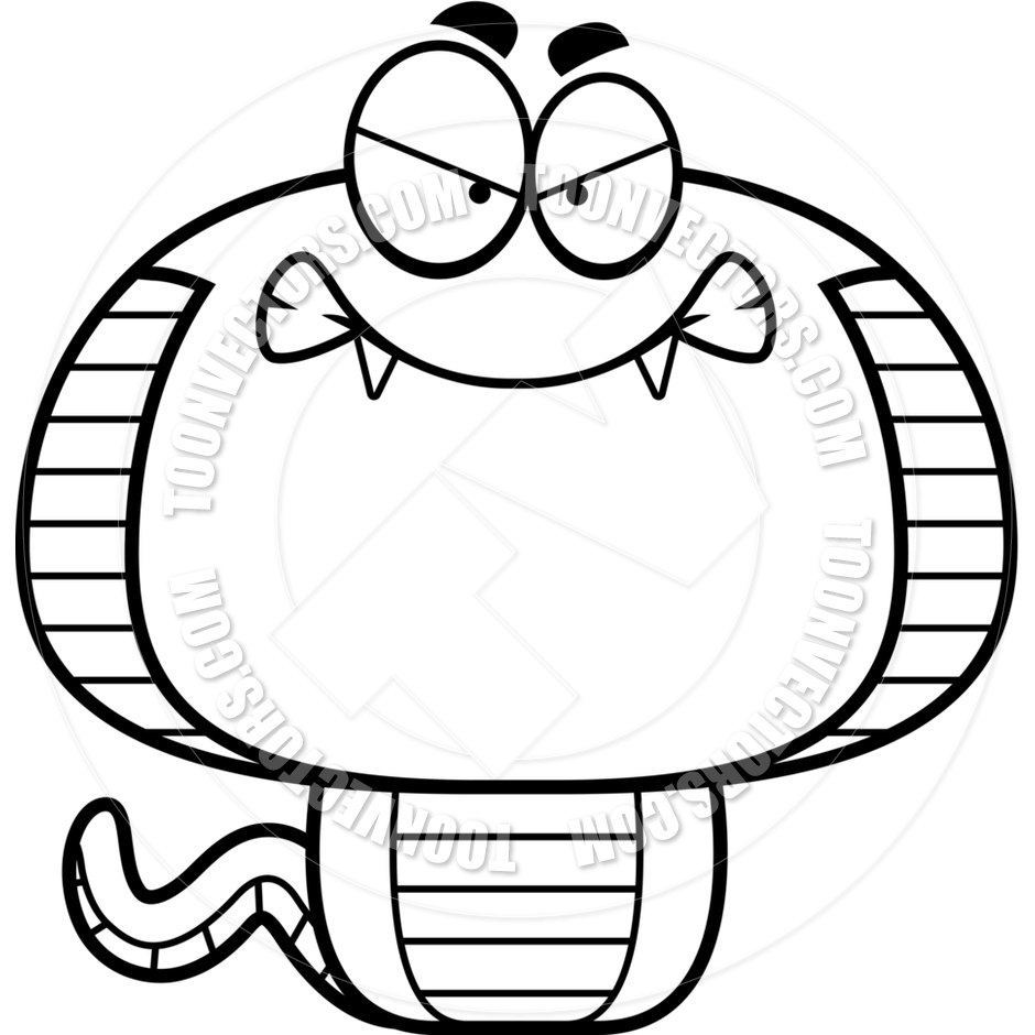 940x940 Cartoon Cobra Snake Angry (Black and White Line Art) by Cory